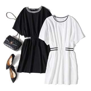 🚚 (出清)韓版氣質收腰蝙蝠袖中長版上衣連身裙洋裝短裙
