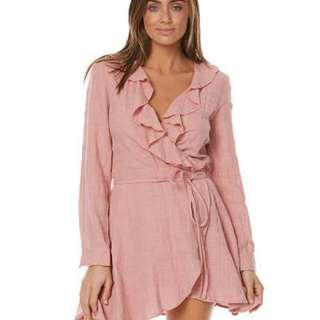 Auguste the Label Harvey wrap mini pink dress