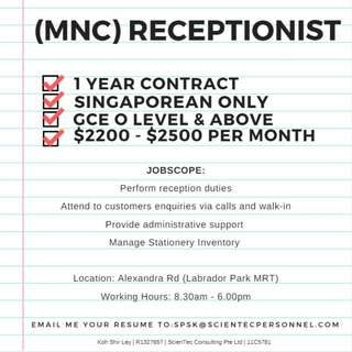 Receptionist (MNC)