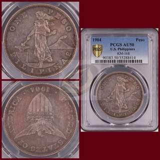 1904 Philippines Peso - PCGS AU50 - LOWEST MINTAGE (11K ONLY) AMONG BUSINESS STRIKE