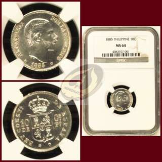 1885 Philippines 10 Centimos - NGC MS64