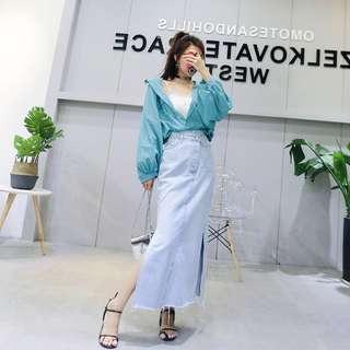 🔼復古風🔼牛仔裙氣質不規則長裙開叉高腰中長款休閒裙修身包臀裙