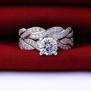 925 sterling silver Engagement ring 2pcs Size 6