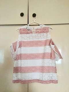 BC BL Pink & white stripes open shoulder top