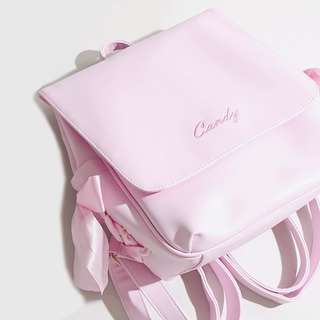 PO Ulzzang Candy Side Ribbon Faux Leather Bag Backpack 3 Colours