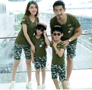 family tshirts short pants