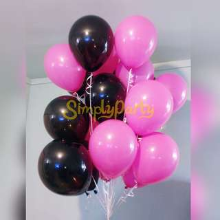 BLACK AND PINK MATTE HELIUM BALLOONS