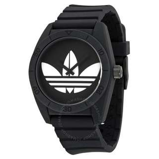 Adidas Santiago Black Dial Black Silicone Strap Men's Watch