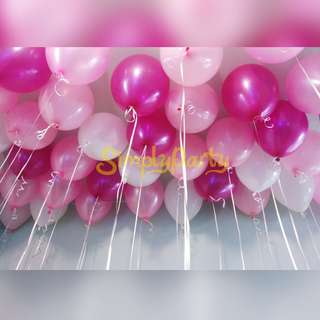 FUSCHIA PINK, WHITE AND BLUSH HELIUM BALLOONS