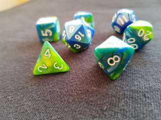Tropical Blue and Green Marbled Dice - Set of 7 INSTOCK