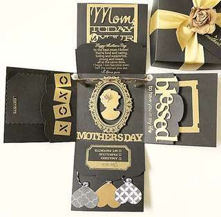 Happy Mother's day Explosion Box Card in Gold And Black
