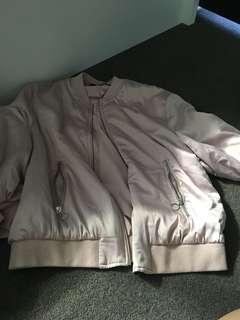 Zara Satin Bomber Jacket Pink
