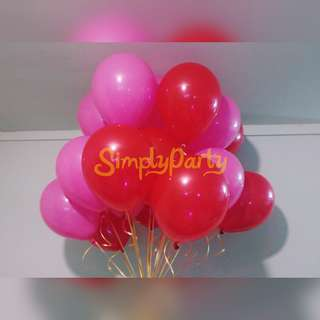 HOT PINK AND RED HELIUM BALLOONS
