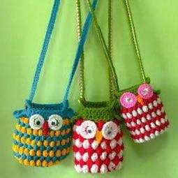 Knitted Owl Bag (water bottle, phone, wallet & purse)