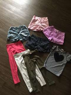 Bundle of girls shorts + leggings 4-5yrs