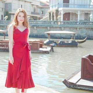 HARANA Ruffled Wrap Midi Dress