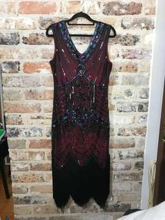 1920's Sequin Flapper Dress Size M
