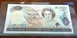 One Dollar New Zealand Currency Note