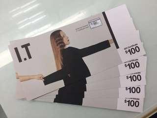I.T 禮券$100 x 5張