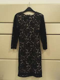 Forever 21 Premium Black Lace Lined Bodycon Dress