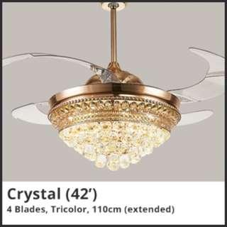 Retractable Ceiling Light+Fan [Crystal/Lotus]