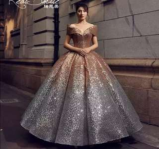 New 2018 Luxury and Elegant Gold and Silver gradient sequins Princess Puff wedding Dress