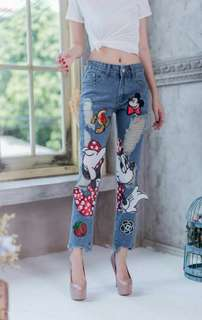 Pre-order JL070517 mickey ripped long pants
