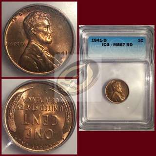 USA Lincoln Cent - ICG MS67 RED