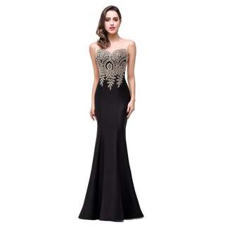 Evening Dress Prom Dress Party Dress Black Sleeveless Mermaid Embroidered