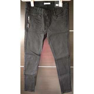 正韓拉鍊裝飾黑色纖腿牛仔褲