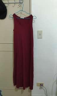 🚚 Lative 酒紅色長洋裝