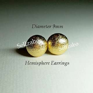 Ladies Texture Hemisphere Round Earrings 9mm Golden Gold Ears Accessories Girls Women Female Lady
