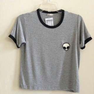 Alien Crop T-Shirt (Grey)