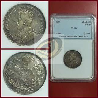 1917 Canada 25 Cents - NNC VF35