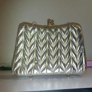 BNWT Large Gold Clutch