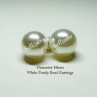 Ladies White Pearly Beads Round Earrings 10mm Ears Accessories Girls Women Female Lady