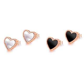 [In Stock] Peach Heart Rose Gold Colour Stainless Steel Ear Studs