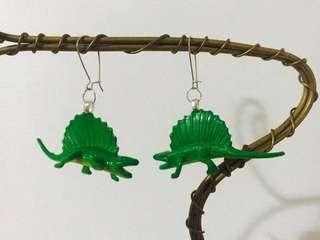 Handmade Green Dinosaur Earrings