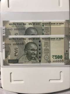 Unc lucky sold no : 888888 new indian 500 Rupees 2017