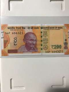 Unc 654321 descending ladder new indian 200 Rupees  2017 Note