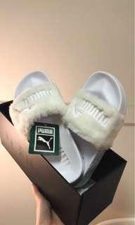 Fenty White Puma Silver Slides