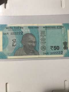 Unc Solid no : 222222 new indian 50 Rupees 2017 Notes