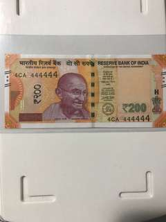 Unc Super Solid no : 4xx444444 new indian 200 Rupees 2017 Note