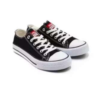 Faster Sepatu Sneakers Kanvas pria Wanita 1603-03 - Hitam vans adidas All star
