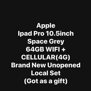 Apple Ipad Pro 10.5inch 64GB (can put simcard) - Space Grey