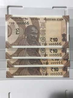 Unc sold no 333333&444444&555555&666666 indian new 10 Rupees 2018 Notes