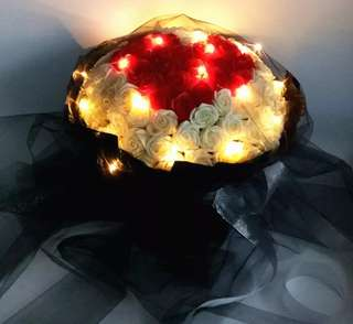Fairy led give u my heart rose bouquet
