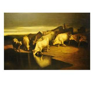 Oil painting -Herd of cattles