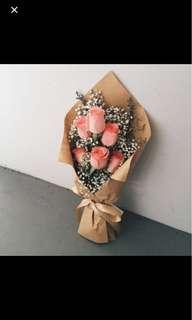 6 stalks Peach roses bouquet