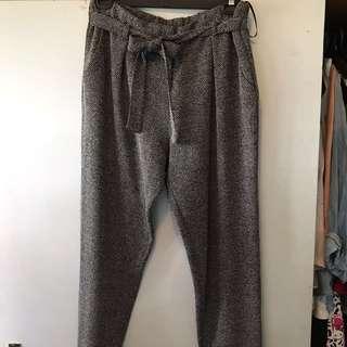 Grey tie waist paper bag pants
